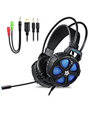 Ceppekyy Cool 2000 Gaming Headset - Surround Sound Over-Ear Headphones with LED Light&Soft Memory Earmuffs
