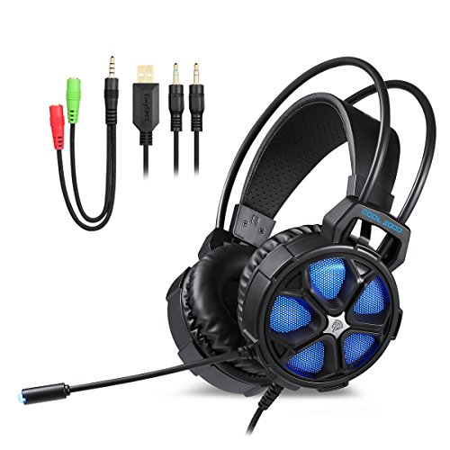 Ceppekyy COOL2000 Cool 2000 Gaming Headset Surround Sound Over-Ear Headphones with LED Light&Soft Memory Earmuffs