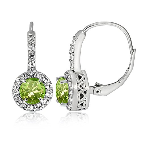 Sterling Silver Peridot & White Topaz Round Leverback Earrings