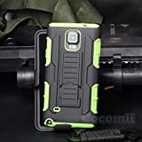 Galaxy Note 4 Case, Cocomii Robot Armor NEW [Heavy Duty] Premium Belt Clip Holster Kickstand Shockproof Hard Bumper Shell [Military Defender] Full Body Dual Layer Rugged Cover Samsung (Green)