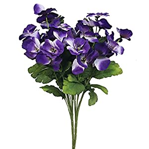 Htmeing 2pcs 10 Heads Artificial Pansy Orchids Bushes Flowers Home Office Wedding Decoration (Purple Blue) 4
