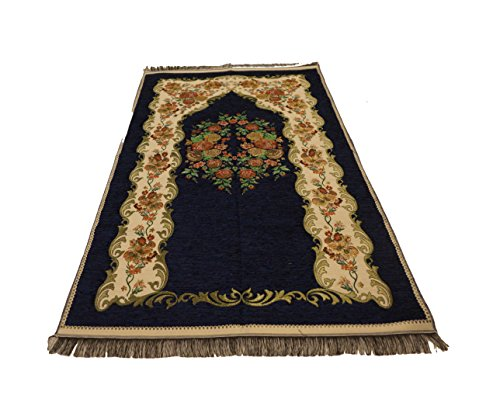 Luxury Colored Velvet Printed on Chenille Islamic Prayer Rug Janamaz Sajjadah Muslim Turkish Prayer Rug (Blue) by MKISLA