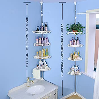 Amazon.com: Baoyouni Bathroom Shower Storage Corner Caddy Tension ...