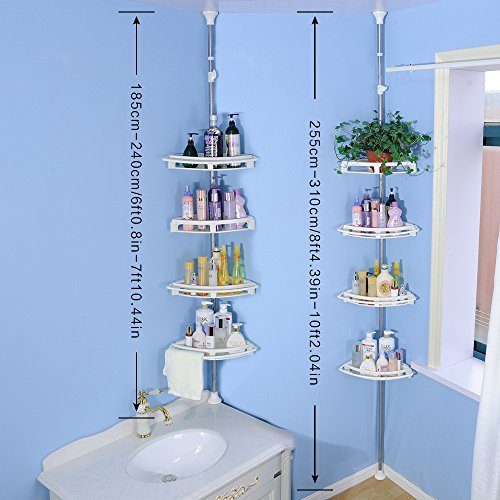 Baoyouni Bathroom Shower Storage Corner Caddy Tension Pole, 4-Tier Bathtub Caddies Shelf Rod Organizer Rack with Towel Bar & Extra Large Trays - Ivory by Baoyouni