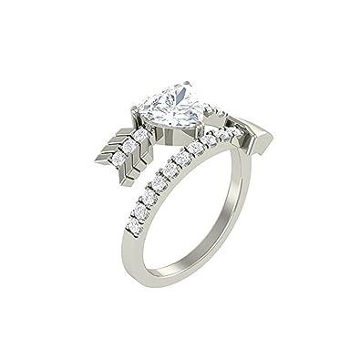 Mejor compromiso anillos de boda en 1,55 Ct blanco circonitas cúbicas forma de corazón cristal ...