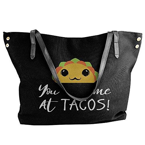 Me Large Capacity Tacos Handbag Had Shoulder Tote Canvas At Bags Large Women's You Black xgq0vqw