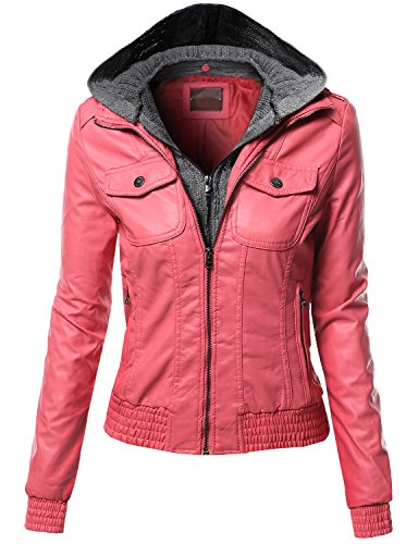 Women's Zip-up Biker Bomber Knit With Hoodie Faux Leather Jackets APRICOT Size M