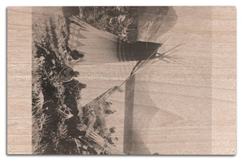 Lantern Press Indian Tipis at Rocky Mountain National Park Photograph (10x15 Wood Wall Sign, Wall Decor Ready to Hang) ()