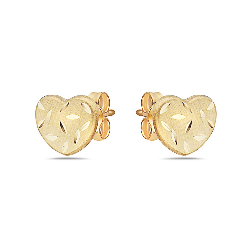 Pori Jewelers 14K Solid Gold Heart Stud Earrings-with Real 14K Gold Butterfly Backings Many Variations and Colors Available