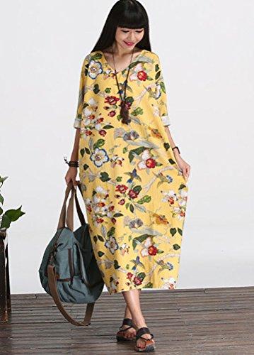 MatchLife - Vestido - para mujer Half Sleeve2-Yellow