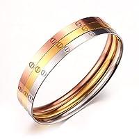 Set of 3 Stainless Steel Screw Head Bracelet Bangle Tri Color Rose Gold/ Gold/ Silver Comfort Fit
