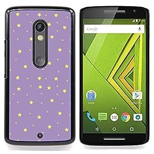 /Skull Market/ - Stars Purple Yellow Night Sky Wallpaper For Motorola Verizon DROID MAXX 2 / Moto X Play - Mano cubierta de la caja pintada de encargo de lujo -