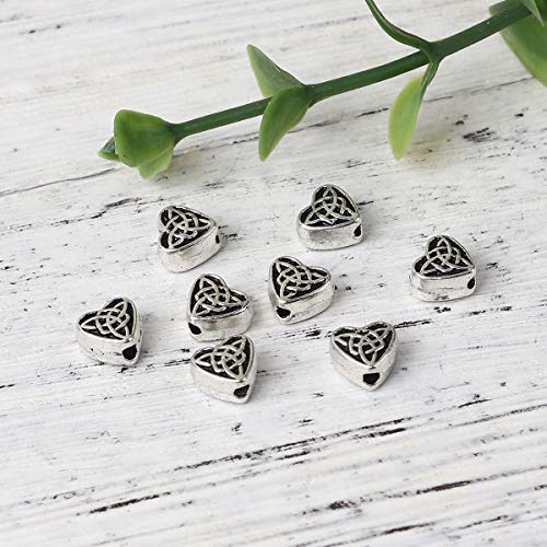 """PEPPERLONELY 200pc Antiqued Silver Alloy Heart Celtic Knot Charms Pendants 6.5 x6.1mm(2/8"""" x 2/8"""")"""