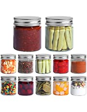 ComSaf Glass Jar, Set of 12 Mason Jars with Airtight Metal Regular Lids(8oz/250ml), Sealed Clear Glass Canning Jars with Wide Mouth for Spices, Honey, Jam, Jelly