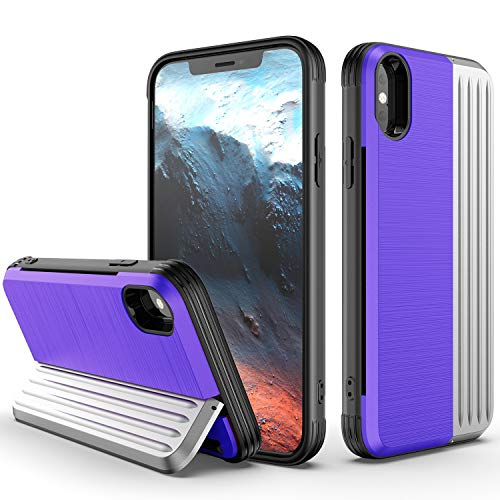 iPhone Xs Max Case, ZHIKE Shockproof Hard PC Case TPU Soft Cover with The Screen Protector Card Slot Holder with Stand Kickstand for iPhone Xs Max (Purple-Silver, iPhone Xs Max Case)