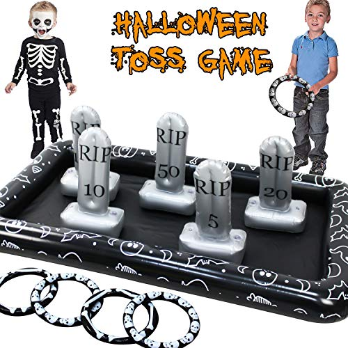 Fun Halloween Games For Parties (TURNMEON Halloween Inflatable Tombstone Ring Toss Game, Fun Graveyard Halloween Party Game Outdoor Indoor Party Game Spider Toys Creepy Spooky Game for Kids Halloween School Party Carnival (4)