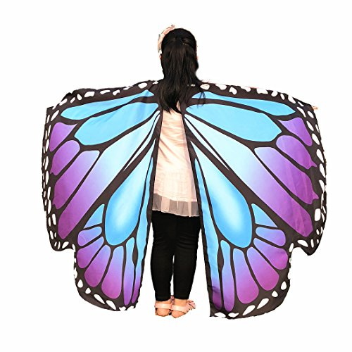 EONGERS Butterfly Wings Costume Party Prom Children Dress Up Novel Costumes (Blue Purple Butterfly)]()