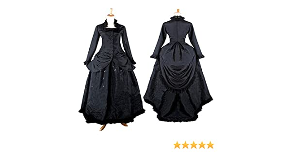 Amazon.com: CosplayDiy Womens Stand Collar Black Victorian Dress Costume: Clothing