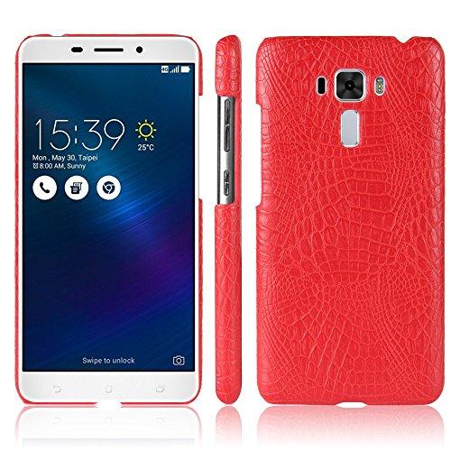 YHUISEN Patrón de piel de cocodrilo clásico de lujo [Ultra Slim] Cuero de PU Anti-scratch PC cubierta protectora de la caja dura para Asus Zenfone 3 Láser ZC551KL ( Color : Brown ) Red