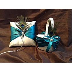 wedding white or ivory with teal sash ribbon peacock ring bearer pillow and flower girl basket
