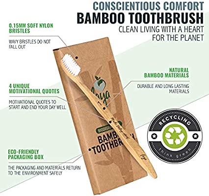 Faya Wooden Bamboo Toothbrush | 0 15mm Soft Bristle with