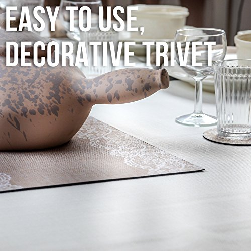 Large Product Image of Trivetrunner :Decorative Trivet and Kitchen Table Runners Handles Heat Up to 300F, Anti Slip, Hand Washable, and Convenient for Hot Dishes and Pots,Hand Washable (Jute and Lace)
