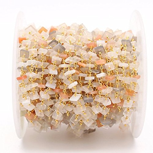 Multi Stone Nugget Chips, Square beads Rosary Chain, Gold Plated Chain, Jewelry Making Supplies, GemMartUSA (GPMX-30026)