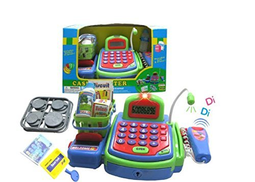 Lvnv Toys@ Activity Learning Family Pretend Play B/O Electronic Cash Register Toy Pretend Play Scanner, Money and Credit Card, Groceries With Sound Green by Lvnvtoys