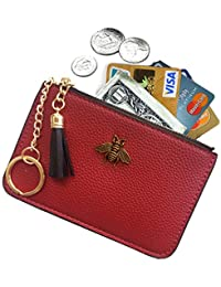 f51ef6627e7 Women's Coin Purse Change Wallet Pouch Leather Card Holder with Key Chain  Tassel Zip