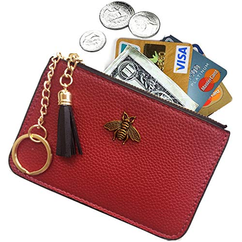 (AnnabelZ Women's Coin Purse Change Wallet Pouch Leather Card Holder with Key Chain Tassel Zip (Red))
