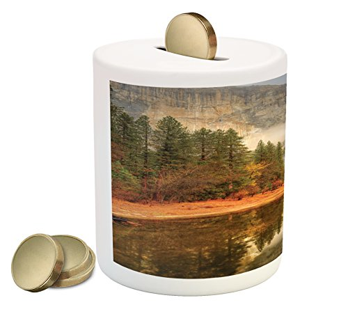 Yosemite Piggy Bank by Ambesonne, Trees Reflections on Merced River Yosemite Valley National Park California in the Fall, Printed Ceramic Coin Bank Money Box for Cash Saving, - Mercedes Valley
