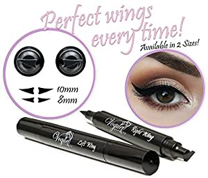 Eyeliner Stamp – WingLiner by Vogue Effects Black, waterproof, smudgeproof, winged long lasting liquid eye liner pen, Vamp style wing, No Dipping required. 2 Pens (8mm Petite)