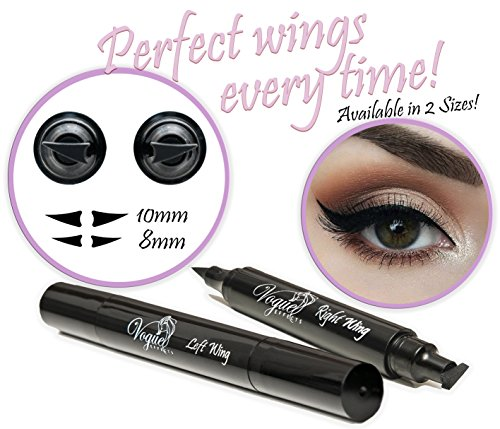 Eyeliner Stamp – WingLiner by Vogue Effects Black, waterproof, smudgeproof, winged long lasting liquid eye liner pen, Vamp style wing, No Dipping required. 2 Pens (8mm (Well Wings)