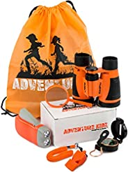Adventure Kidz - Outdoor Exploration Kit, Children's Toy Binoculars, Flashlight, Compass, Whistle, Magnifying Glass, Backpac