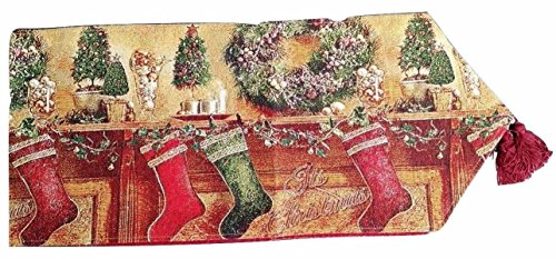 Tache Classic Red Christmas Stockings Table Runner 13X72 ()