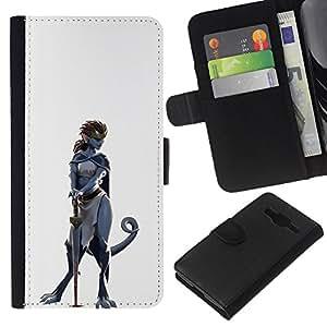 Stuss Case / Funda Carcasa PU de Cuero - Dinosaurio mujer del guerrero - Samsung Galaxy Core Prime