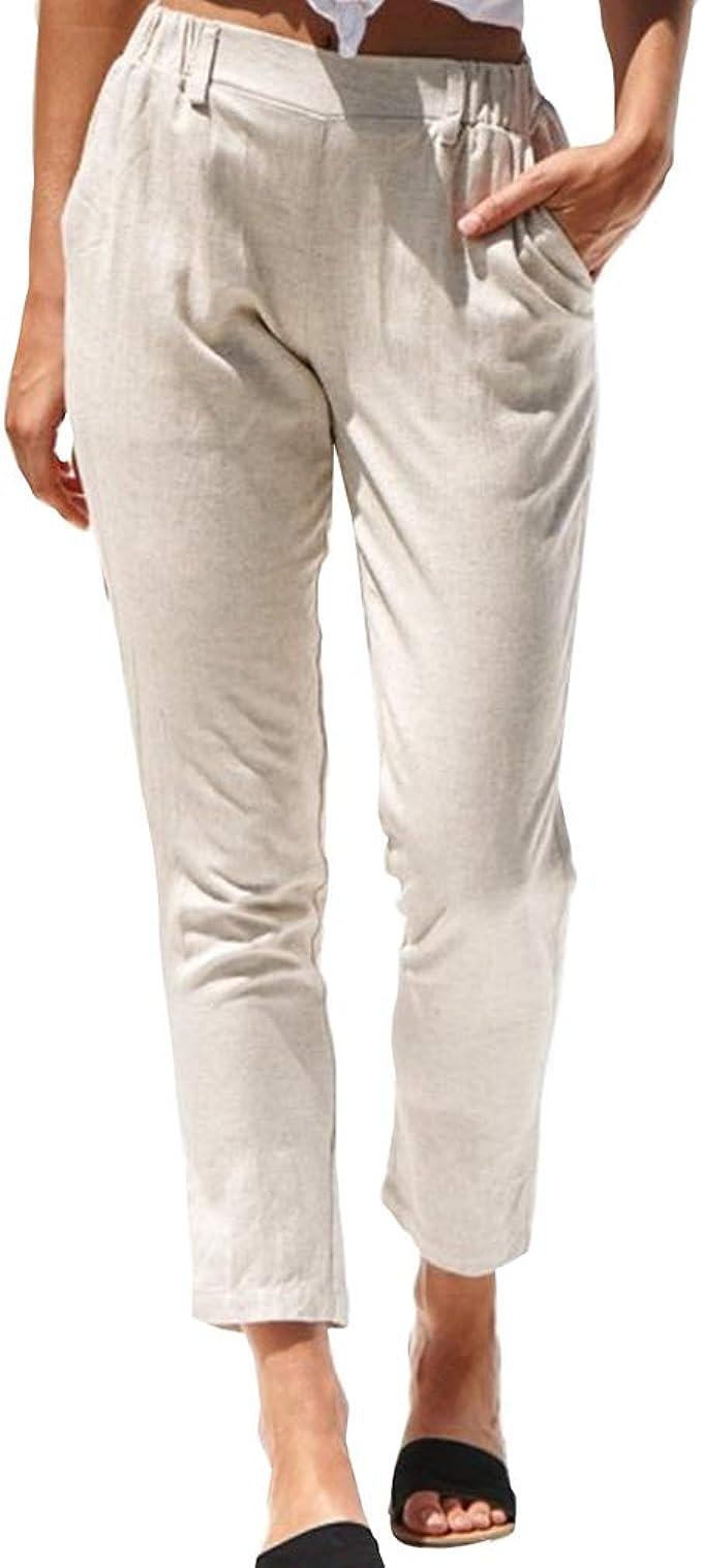 Mujer Cintura Alta Pantalones Algodón y Lino Pantalones de Color Sólido Verano Pantalones Largos Rectos Pantalones Casual Bolsillos Pantalones: Amazon.es: Ropa y accesorios