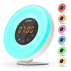 (Upgraded Version) Wake-up Light Alarm Clock with Sunrise Simulation, Apiker Bedside Night Light with FM Radio, 6 Nature Sounds, Touch Control, and Anti-slip Aluminum Stand
