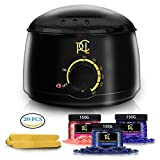Hair Removal Wax Strip Kit - Wax Warmer Kit Hair Removal, At Home Waxing Kit, Professional Electric Pot Heater Melts Hot Beads Minutes, Painless Wax of Legs, Face, Body, Bikini Area, Includes 3 Hard Wax Beans (450g) & 20 Sticks