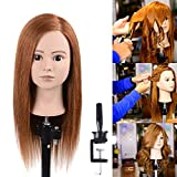 Natural Secret 100% Human Hair Mannequin Manikin Head With Blonde Human Hair Styling Dye Cutting Hairdresser Training Head Manikin Cosmetology Doll Head 20-22