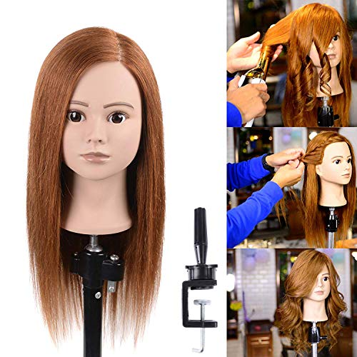"Natural Secret 100% Human Hair Mannequin Manikin Head With Blonde Human Hair Styling Dye Cutting Hairdresser Training Head Manikin Cosmetology Doll Head 20-22""(From Forehead To the back hair end)"