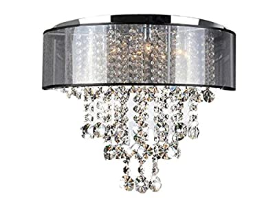 New Galaxy Lighting Chrome Finish Translucent Black Shade 9-light Flush Mount Crystal Chandelier