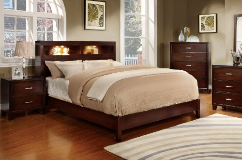 Furniture of America Metro Platform Bed with Bookcase Headboard and Light Design, California King, Cherry (King California Bookcase)