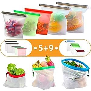 aquete de 14 bolsas de almacenamiento reutilizables: 5 ...