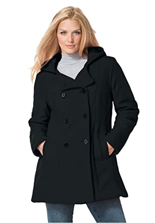 Women's Plus Size Hooded Fleece Pea Coat at Amazon Women's Coats Shop