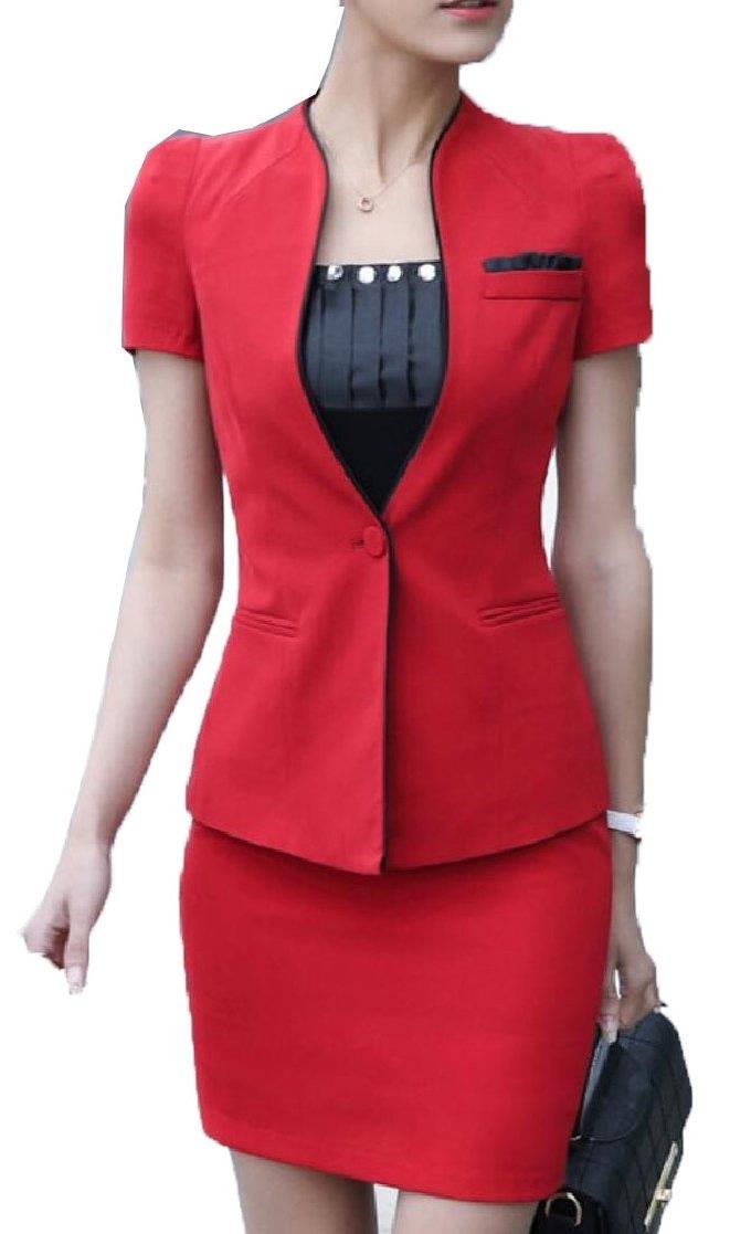 Gocgt Women's OL Work Short Sleeve Jacket Skirts 2 Piece Suit Set