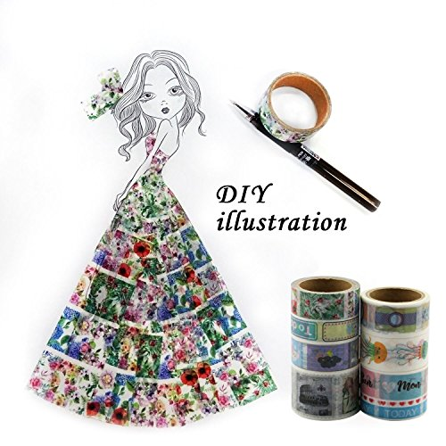 Indian Costume Ideas Diy - MULGORE Washi Masking Tape Collection DIY Decorative Washi Paper Tape With Colorful Designs and Patterns New 2017 Designs Stickers 7 Rolls