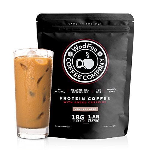 WodFee Protein Coffee | All Natural Whey Protein Coffee With 18G Of Protein Per Serving | No Artificial Sweeteners, NON GMO, KETO Friendly and Gluten Free | Vanilla Latte (37 Servings)