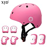 XJD Child Adjustable Sports Protective Gear Set Safety Pad Safeguard (Kids Helmet Knee Elbow Wrist) for Roller Bicycle BMX Bike Skateboard Scooter and Other Extreme Sports Activities (PINK)
