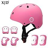XJD Kids Helmet 3-8 Years Toddler Helmet Sports Protective Gear Set Knee Elbow Wrist Pads Roller Bicycle BMX Bike Skateboard Adjustable Helmets for Kids (Pink)